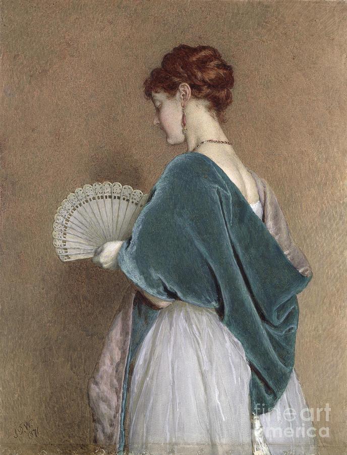Woman Photograph - Woman With A Fan by John Dawson Watson