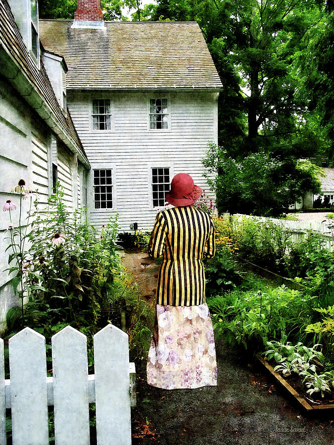 Striped Photograph - Woman With Striped Jacket And Flowered Skirt by Susan Savad