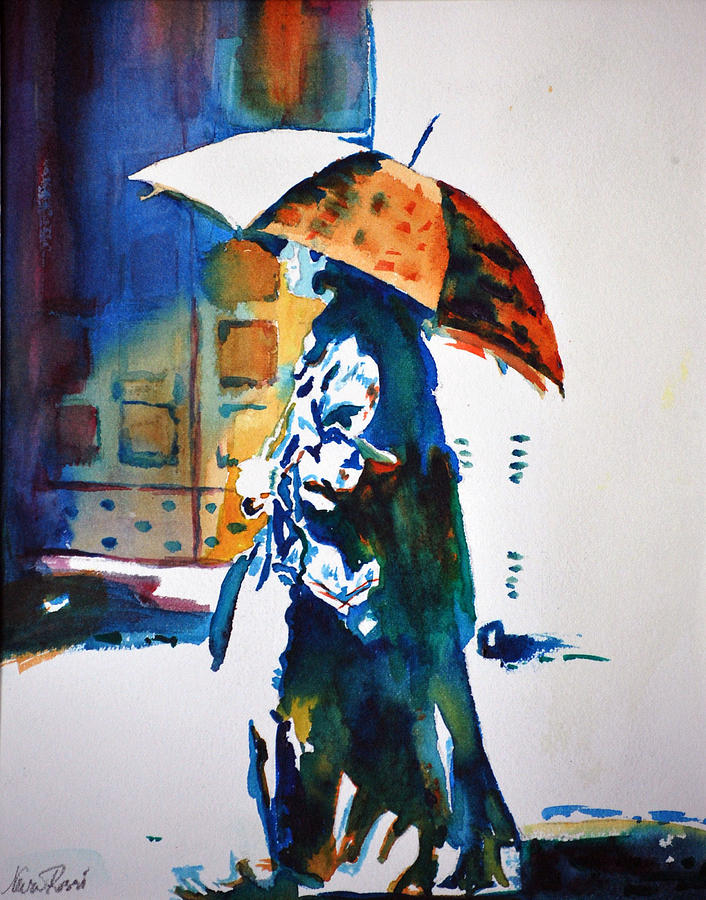 Woman With Umbrella I Painting by Neva Rossi