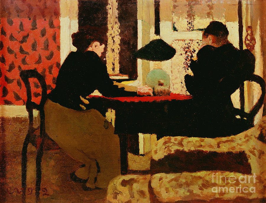 Women Painting - Women By Lamplight by vVuillard