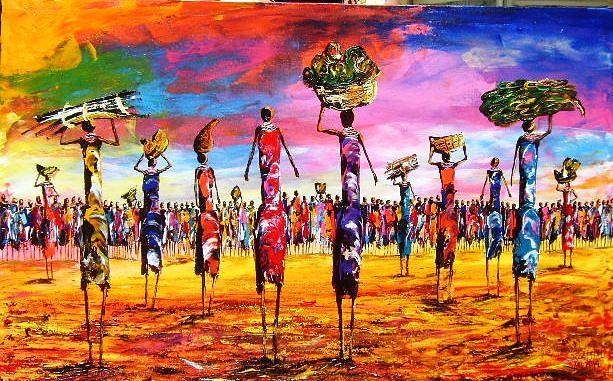 African Cultural Painting - Women In Colourful Scene by Joseph Muchina