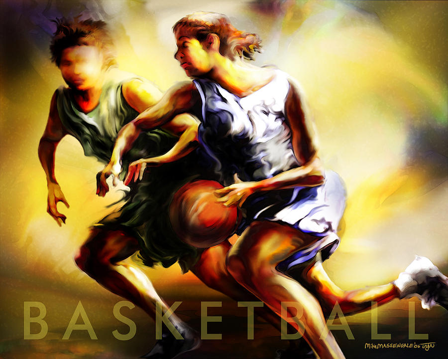 Basketball Painting - Women In Sports - Basketball by Mike Massengale