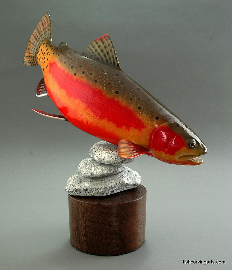 Wood carving spawning golden trout sculpture by chad turner