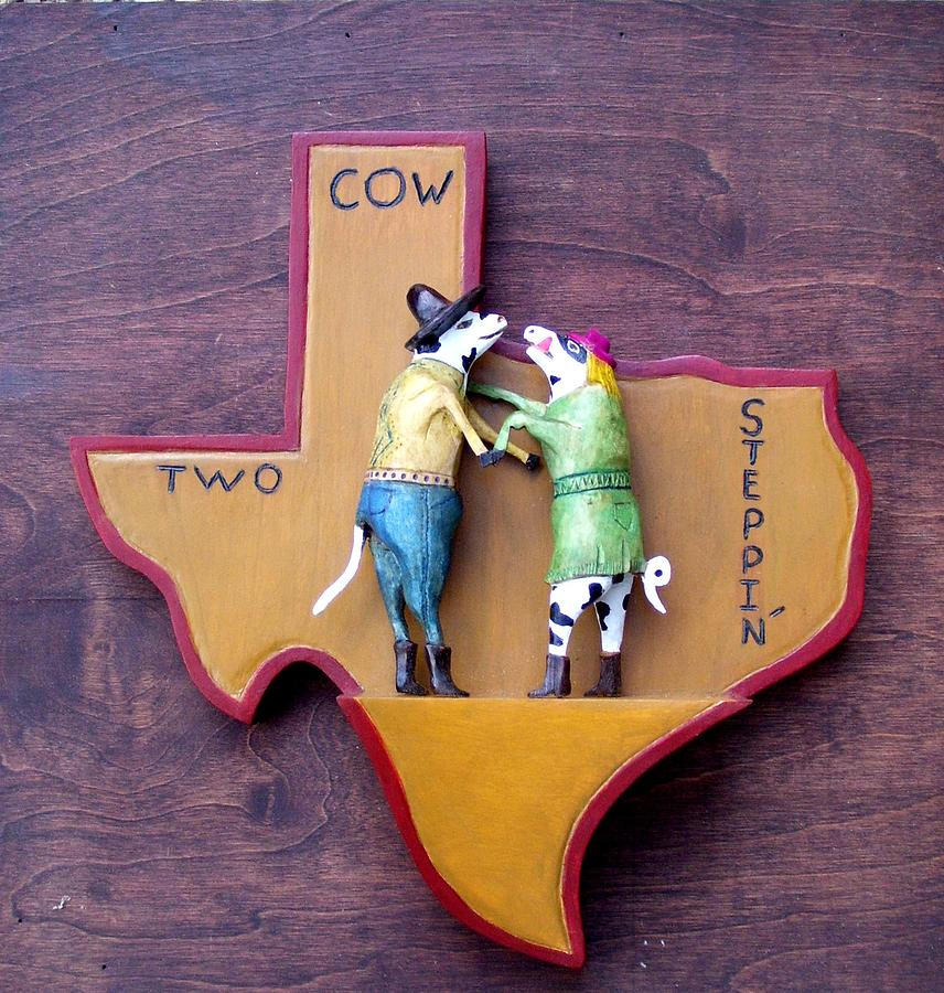 Texas Sculpture - Woodcrafted 2 Cow Steppin by Michael Pasko