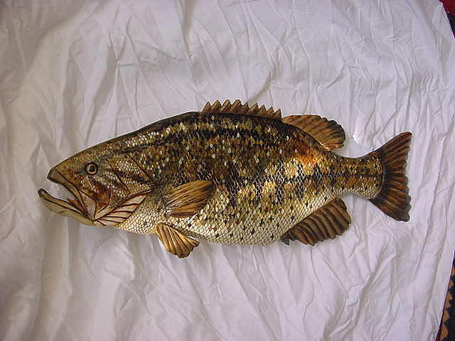 Fish Relief - Wooden Large Mouth Bass Number Five by Lisa Ruggiero