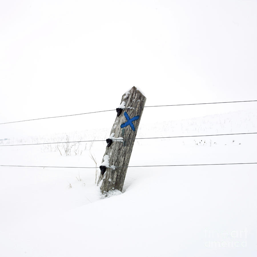 Wooden Post In Winter Photograph