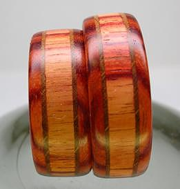 Wood Jewelry - Wooden Ring - Tulip Wood And Walnut by Keith Krautle