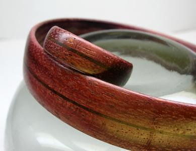 Wood Jewelry - Wooden Ring And Bracelet - Purple Heart And Walnut by Keith Krautle