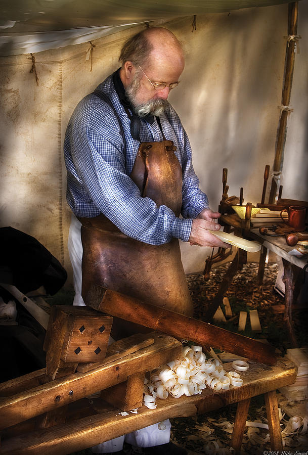 Savad Photograph - Woodworker - The Carpenter by Mike Savad
