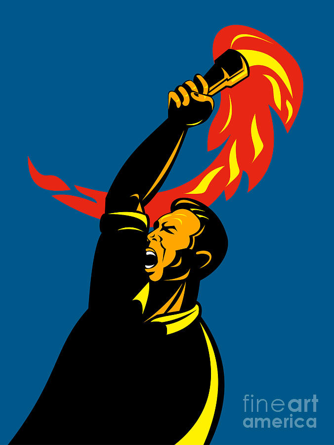Illustration Digital Art - Worker With Torch by Aloysius Patrimonio