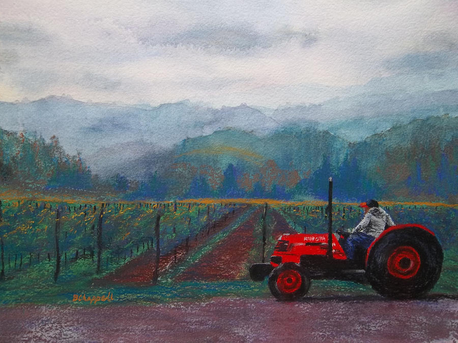 Vineyard Painting - Working The Vineyard by Becky Chappell