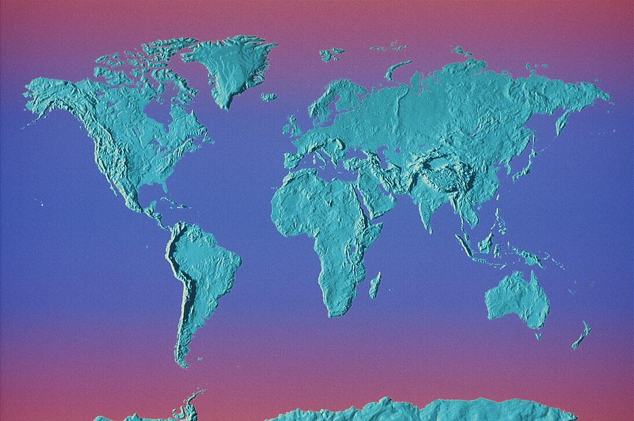 Horizontal Photograph - World Land Mass Map by Vladimir Pcholkin