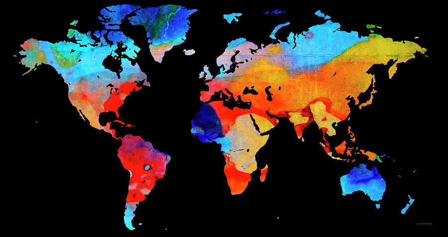 World Map 18 Black Background Painting by Sharon Cummings