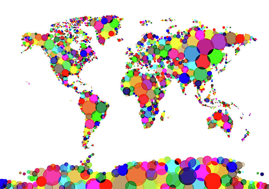 Map Of The World Digital Art - World Map Circles by Michael Tompsett
