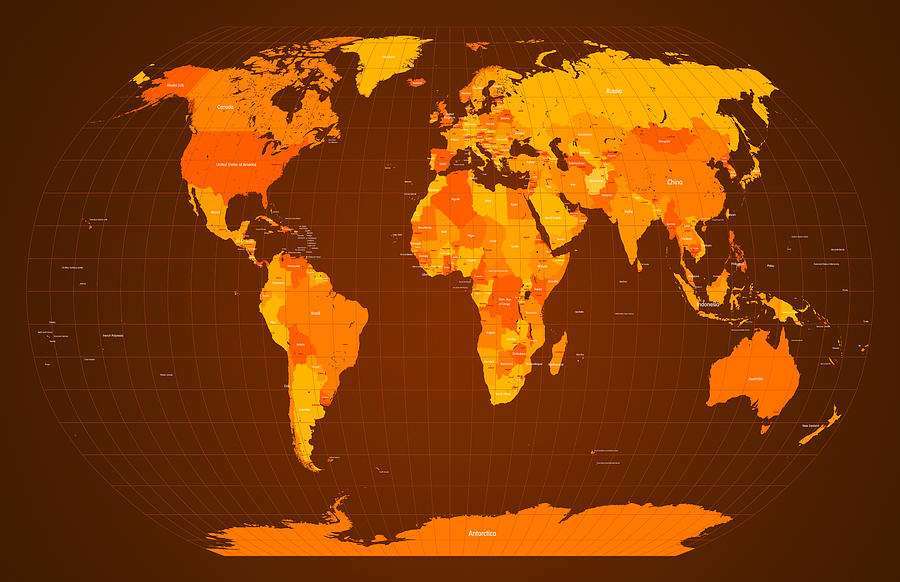 Map Of The World Digital Art - World Map Fall Colours by Michael Tompsett