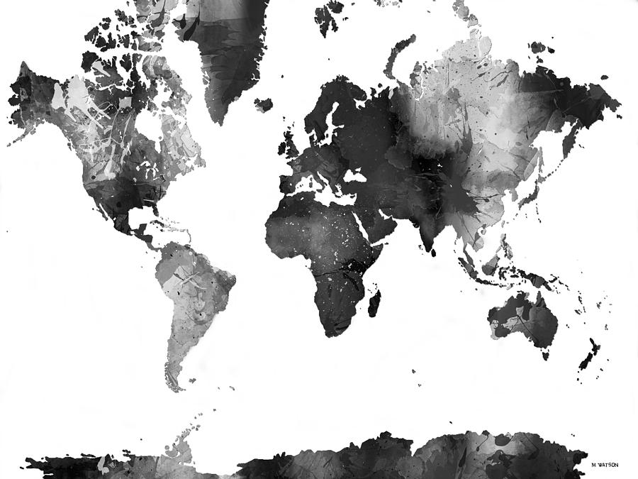 World Map In Black And White Digital Art - World Map In Black And ...