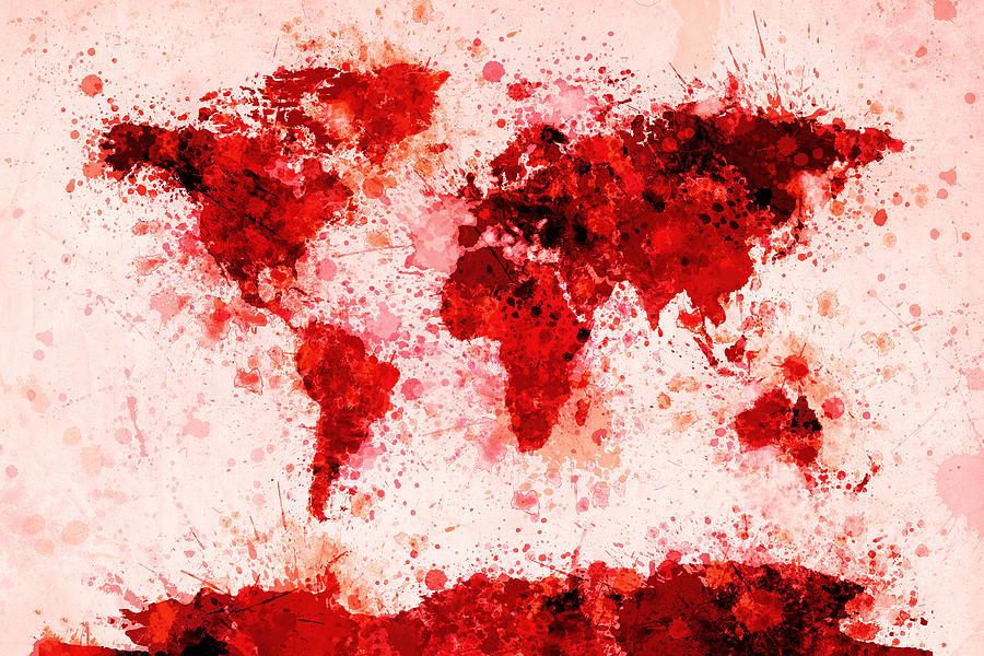 Map Of The World Digital Art - World Map Paint Splashes Red by Michael Tompsett