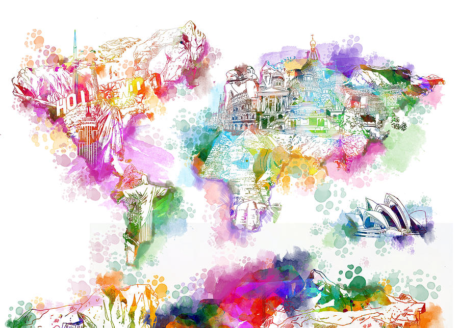 World Map Watercolor Landmarks Painting By Bekim Art