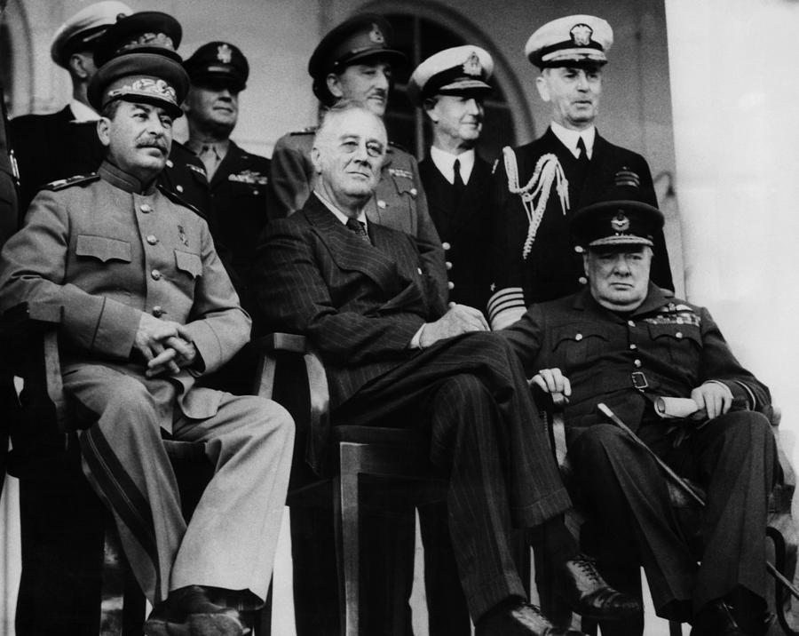 1940s Photograph - World War II. From Left, Front Row by Everett