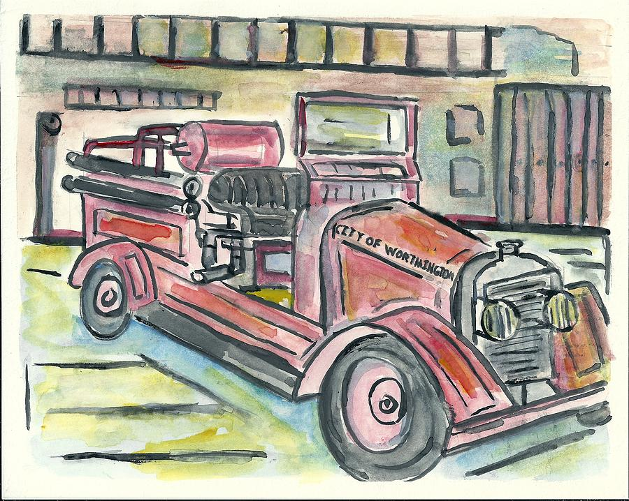 Fire Engine Painting - Worthington Fire Engine by Matt Gaudian