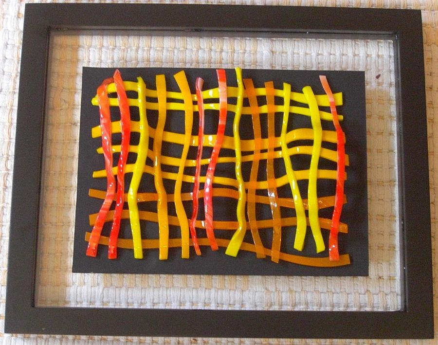 Fused Glass Glass Art - Woven Glass- One by Judy Jones