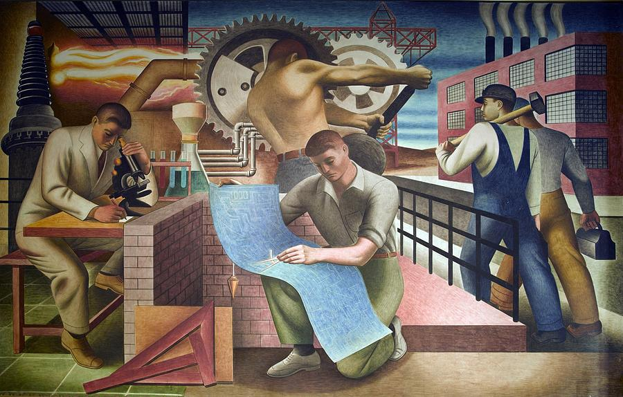 History Photograph - Wpa Mural. Mural By Charles Klauder Ca by Everett