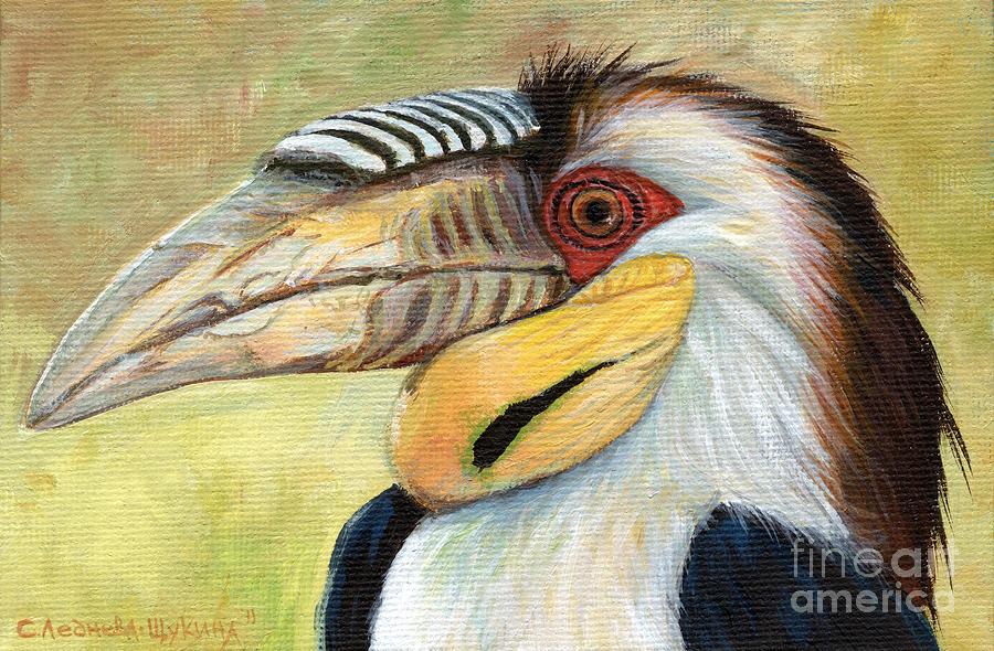 Calao Painting - Wreathed Hornbill  by Svetlana Ledneva-Schukina