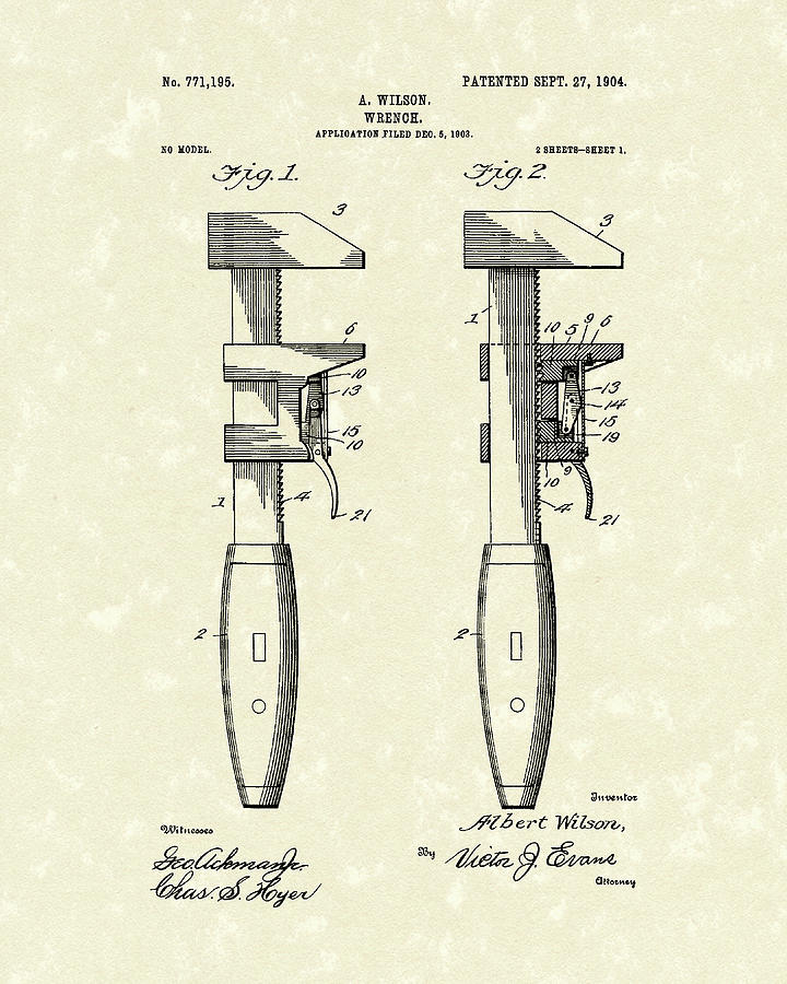 Wrench Drawing - Wrench Wilson 1904 Patent Art by Prior Art Design