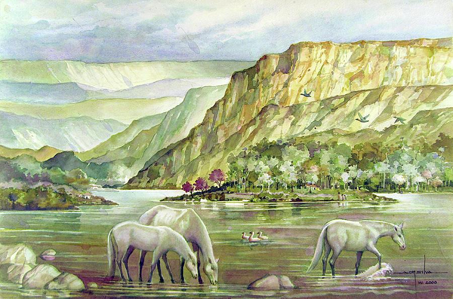 Alfredo Da Silva Painting - Ws2000dc023 Landscape Bolivia 18x12 by Alfredo Da Silva