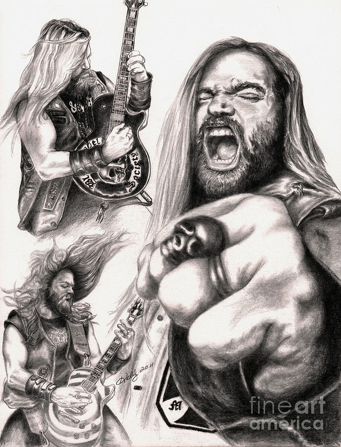 Zakk Wylde Portrait Drawing - Wylde Man by Kathleen Kelly Thompson