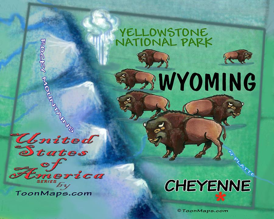Wyoming Fun Map Digital Art