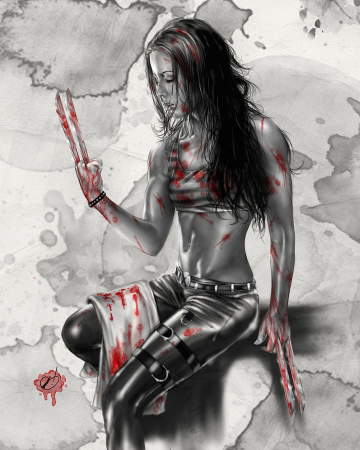 Marvel Painting - X23 by Pete Tapang