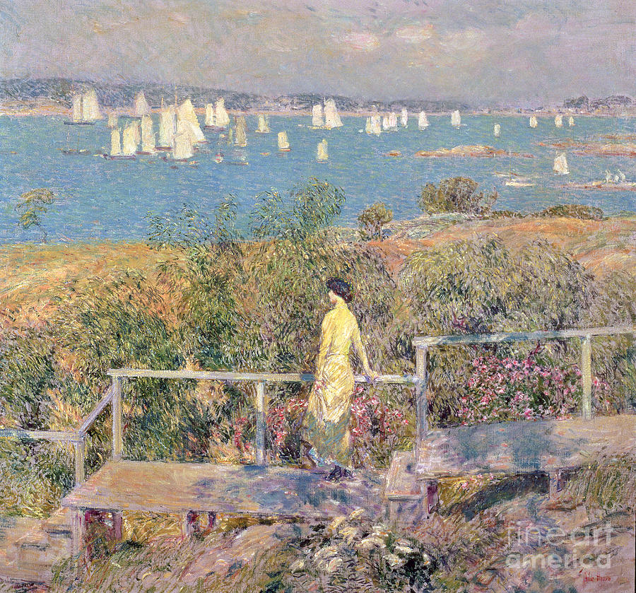 Yachts In Gloucester Harbor Painting