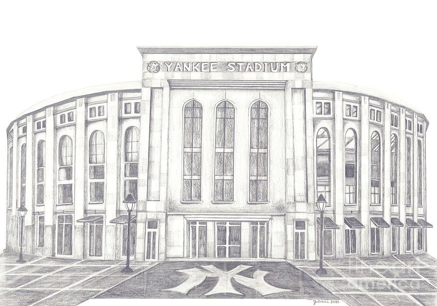 Yankee Stadium Drawing - Yankee Stadium by Juliana Dube