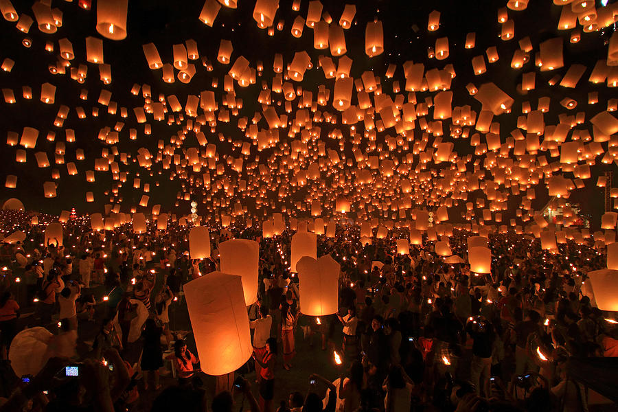 Air Photograph - Yee Peng Festival In Thailand by Sanchai Loongroong