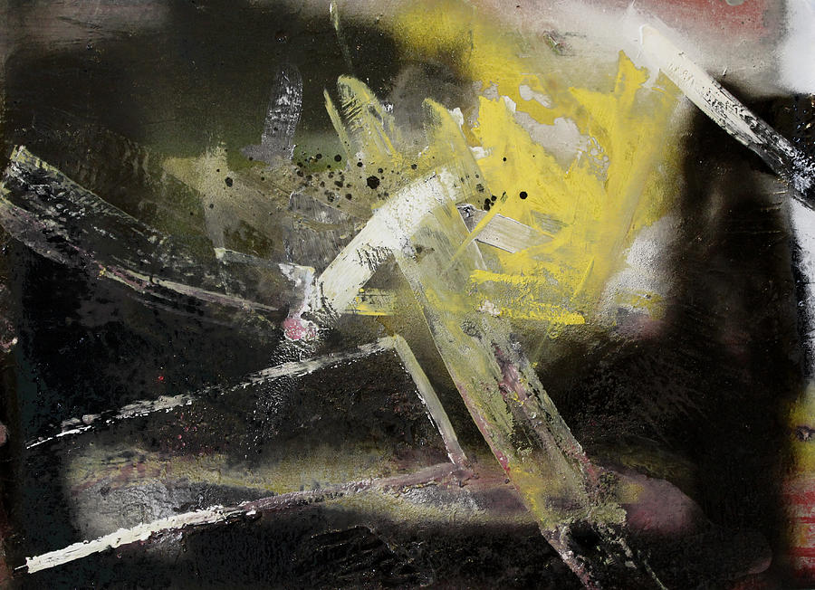 Yellow And Black Abstract Painting by Ethel Vrana Yellow Black Abstract Paintings