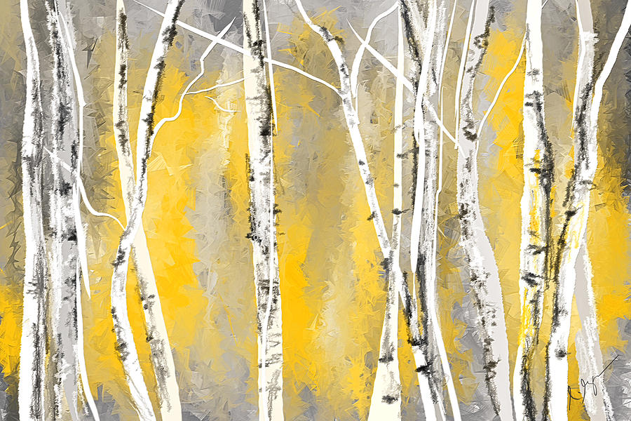 Yellow And Gray Birch Trees Painting by Lourry Legarde