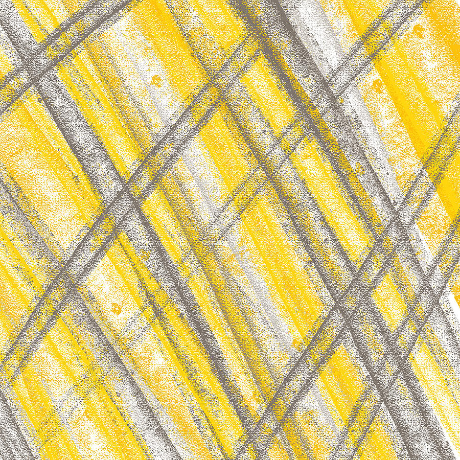 Yellow and gray lines painting by lourry legarde for Yellow and gray paint