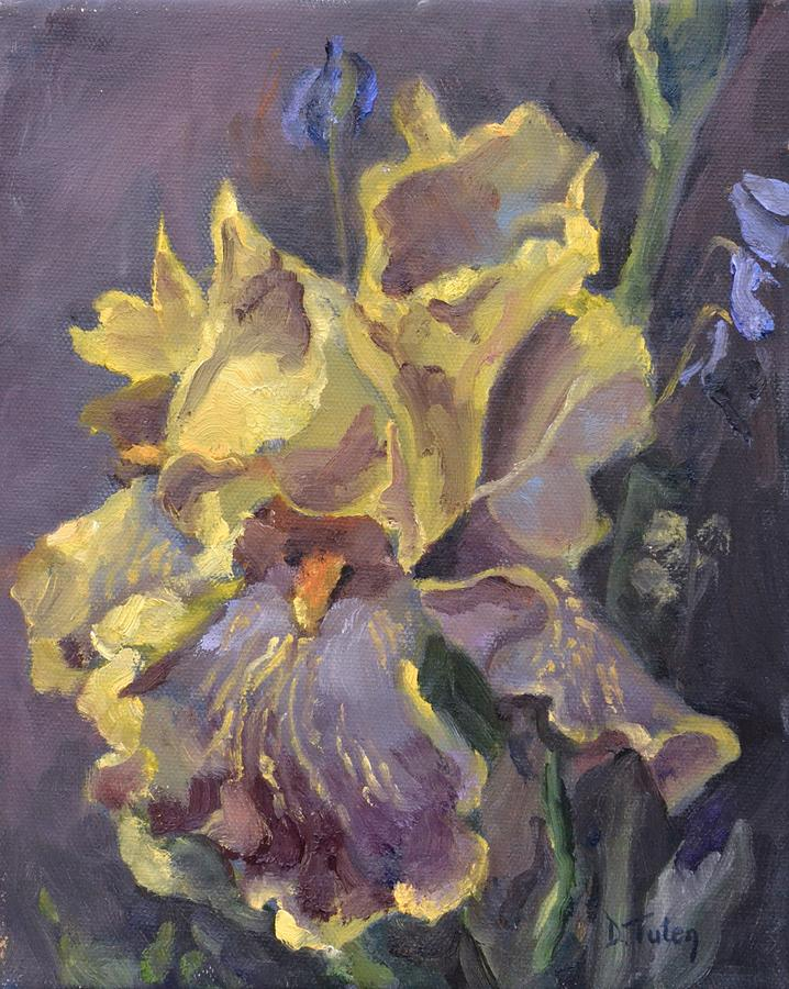 Yellow and purple iris painting by donna tuten for Purple and yellow painting