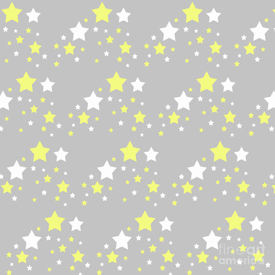 Yellow And White Stars On Grey Gray Digital Art By Laura