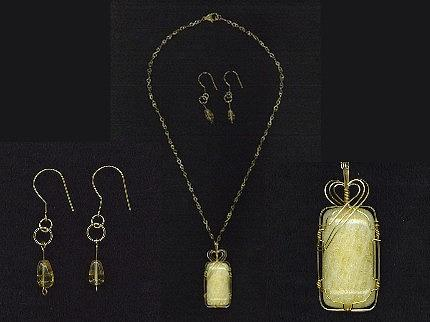 Yellow Calcitewire Wrapped In 14k Gold Filled Wire With Citrine Beads  Pendant And Earring Set Jewelry
