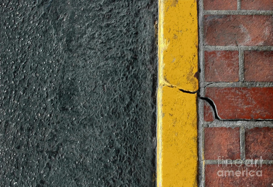 Abstract Photograph - Yellow Curb by Dan Holm