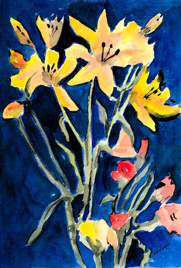 Flower Painting - Yellow Daylilies by Arline Wagner