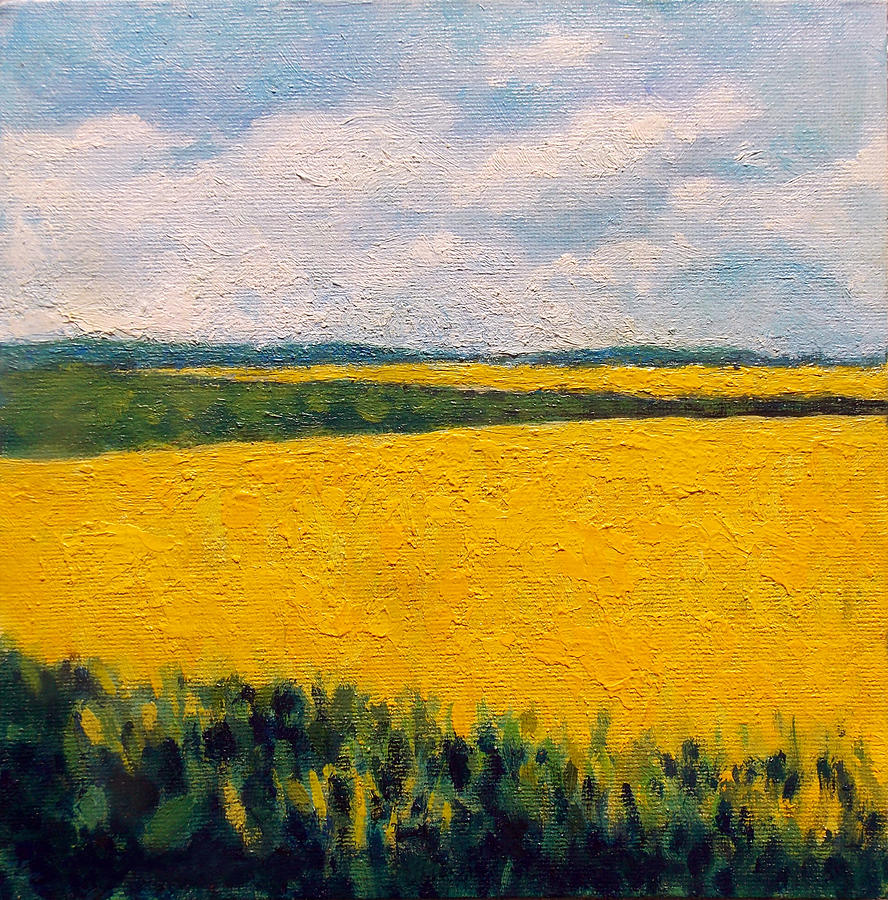 Yellow Field Painting by Adriana Vasile