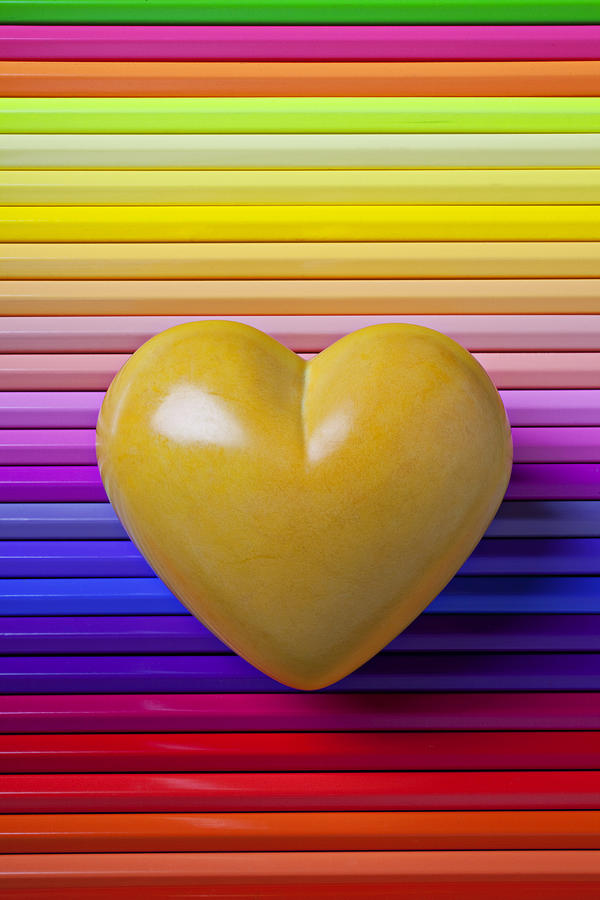 Yellow Heart Stone Love Symbol Romance Photograph - Yellow Heart On Row Of Colored Pencils by Garry Gay