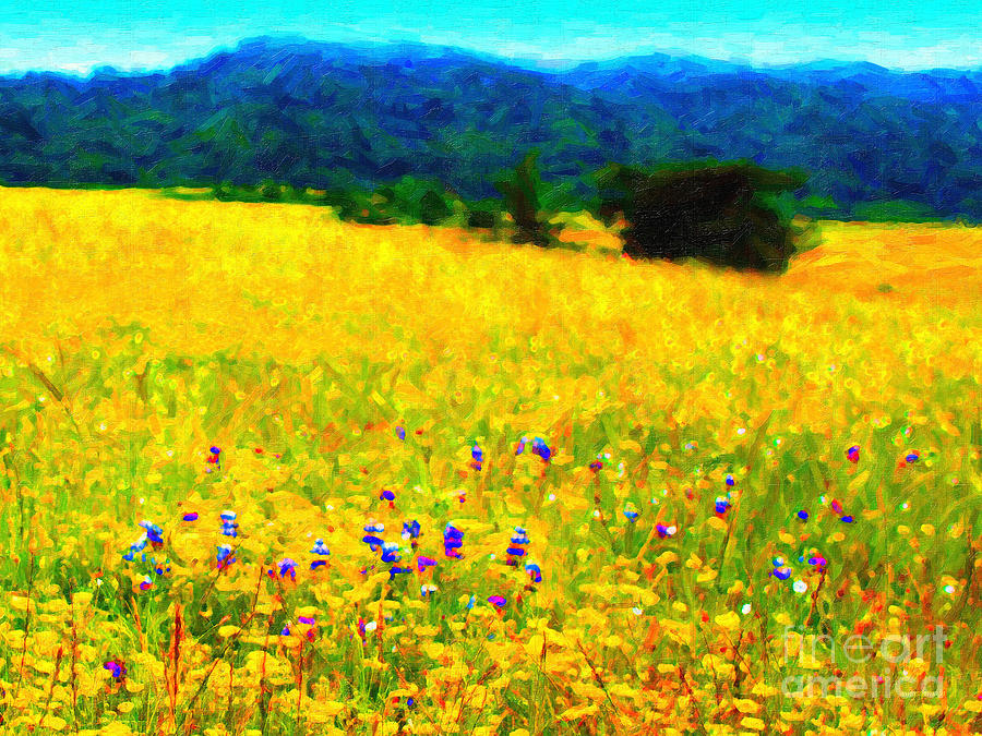 Landscape Photograph - Yellow Hills by Wingsdomain Art and Photography