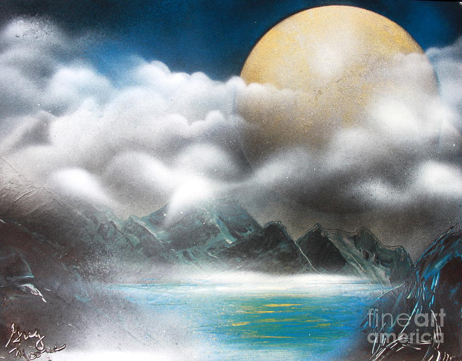 Space Art Painting - Yellow Moon by Greg Moores