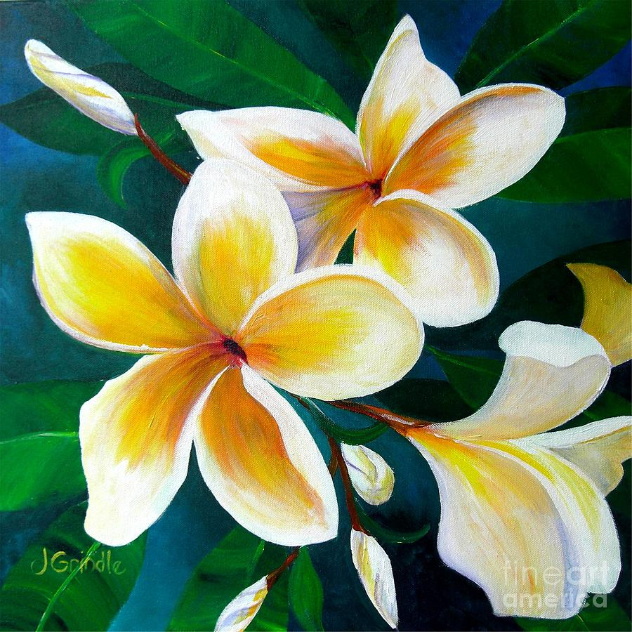 Yellow Plumeria Painting by Jerri Grindle