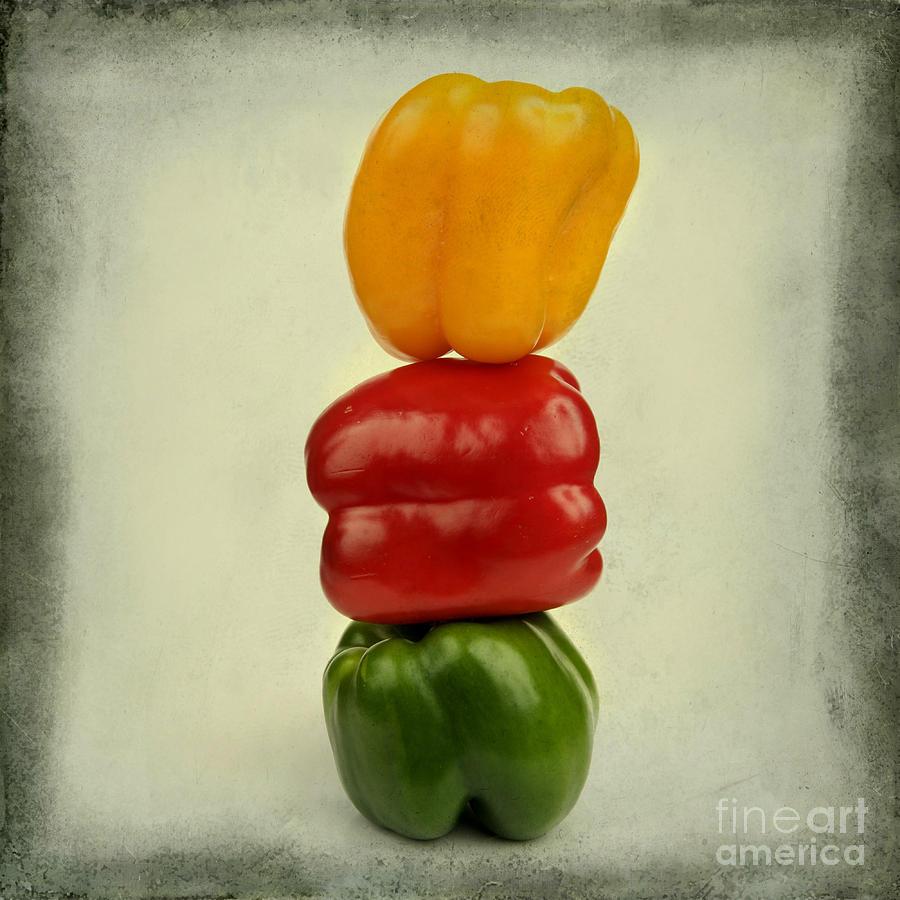 Texture Photograph - Yellow Red And Green Bell Pepper by Bernard Jaubert