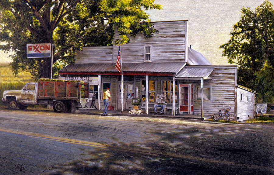 Country Store Drawing - Yellow Sweater Freeman Store by Craig Shillam